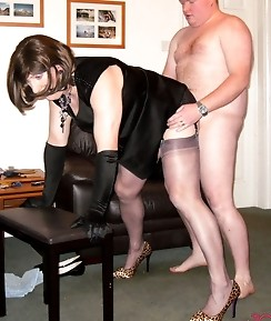 Kirsty watches on as her slutty crossdresser friends get fucked