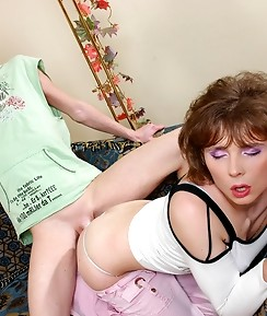 Sexy sissy in female clothes gets his ass dildo stuffed before hard dicking